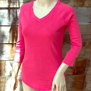 """Sporty 3/4"""" sleeve Pink T Shirt"""